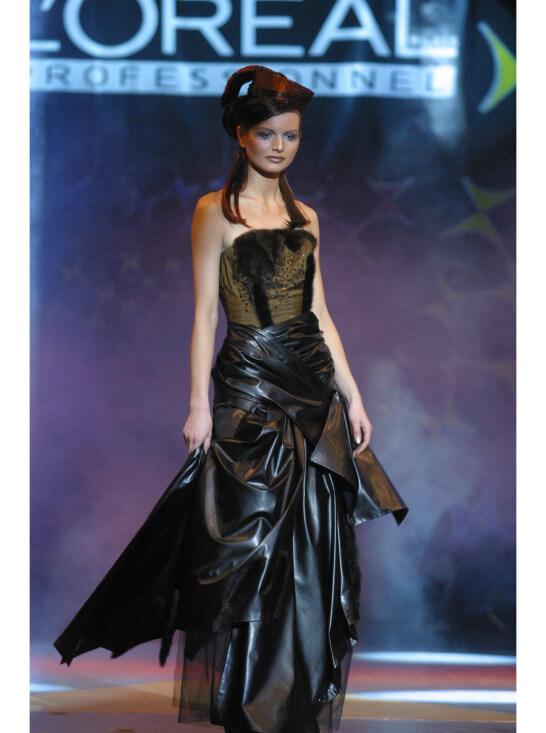 платье кожа мех чёрное коричневое сергей пугачёв дизайнер