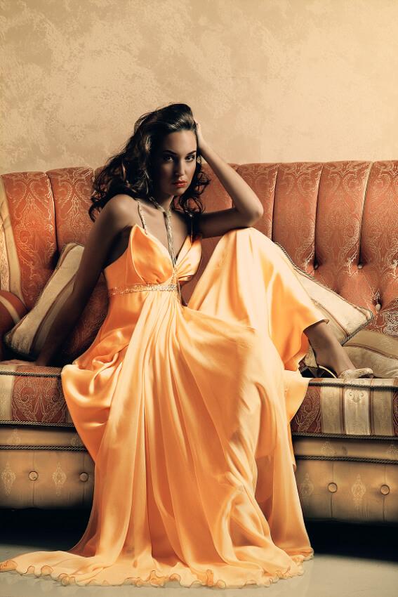 вечернее платье оранжевый цвет сергей пугачёв дизайнер
