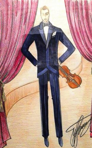 оркестр театр скрипач костюм эскиз