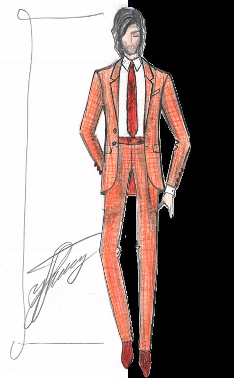 мужской костюм клетчатый эскиз сергей пугачёв