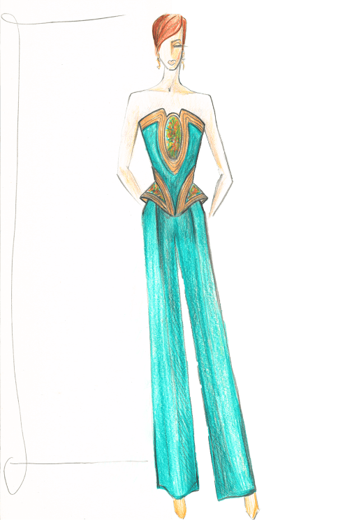 женский костюм вечерний эскиз сергей пугачёв
