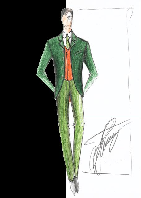 мужской костюм зелёный эскиз сергей пугачёв